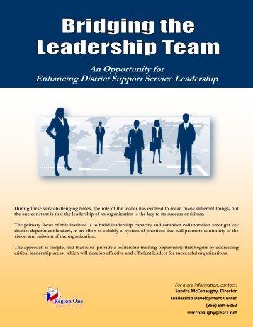 Bridging the Leadership Team-Support Service Directors ... - Region 1