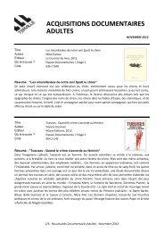 Nov 2012 _ Documentaires Adultes.pdf - TERVILLE