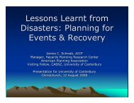 Lessons Learnt from Disasters - American Planning Association