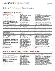Business Resource List - Economic Development Corporation Utah