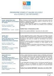 programme foires et salons 2012/2013 - CGPME Paris Ile de France