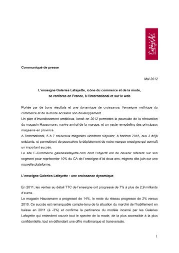 Communiqué de presse - Galeries Lafayette - mai 2012 - Groupe ...
