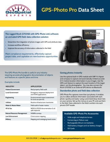 GPS-Photo Pro Data Sheet - GeoSpatial Experts