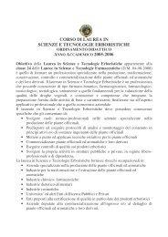 Manifesto Anno Accademico 2005-2006 - Facoltà di Farmacia