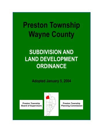 Preston Township Wayne County - Shepstone Management Company
