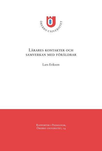 Lärares kontakter och samverkan med föräldrar - Örebro universitet