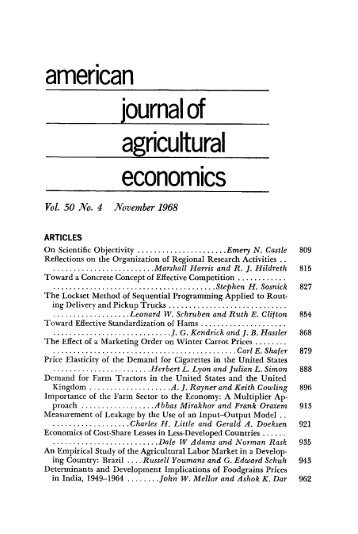 Table of Contents (PDF) - American Journal of Agricultural Economics