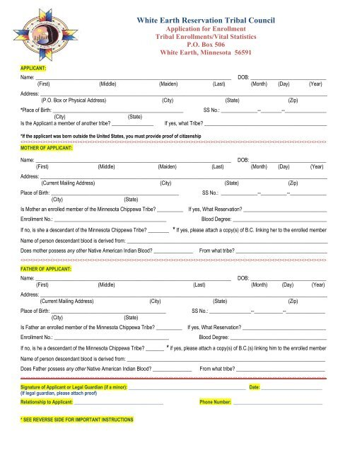 White Earth Enrollment Application - White Earth Nation