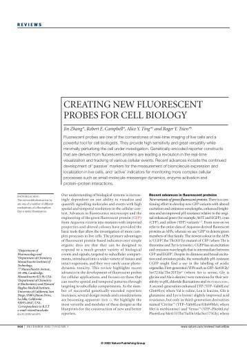 creating new fluorescent probes for cell biology - Department of ...