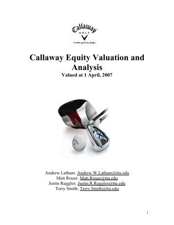 Callaway Equity Valuation and Analysis