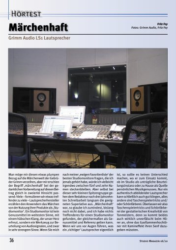 Grimm Audio, Fritz Fey - Studio Magazin