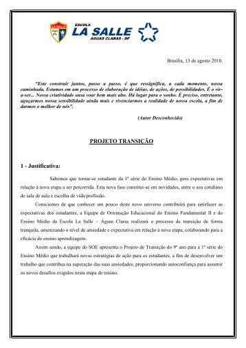PROJETO TRANSIÇÃO 1 - Justificativa: - La Salle