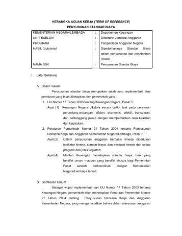KERANGKA ACUAN KERJA - Direktorat Jenderal Anggaran ...