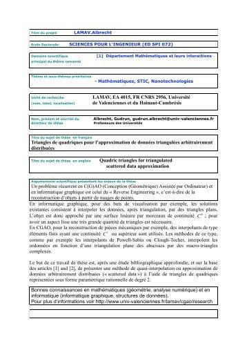 Titre du projet - Université de Valenciennes et du Hainaut-Cambrésis