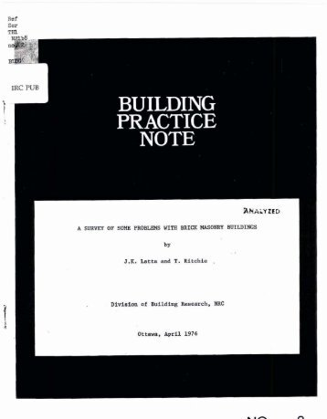 A Survey of some problems with brick masonry buildings
