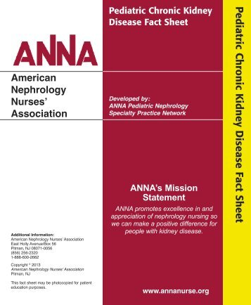 Chronic Kidney Disease Fact Sheet - American Nephrology Nurses ...