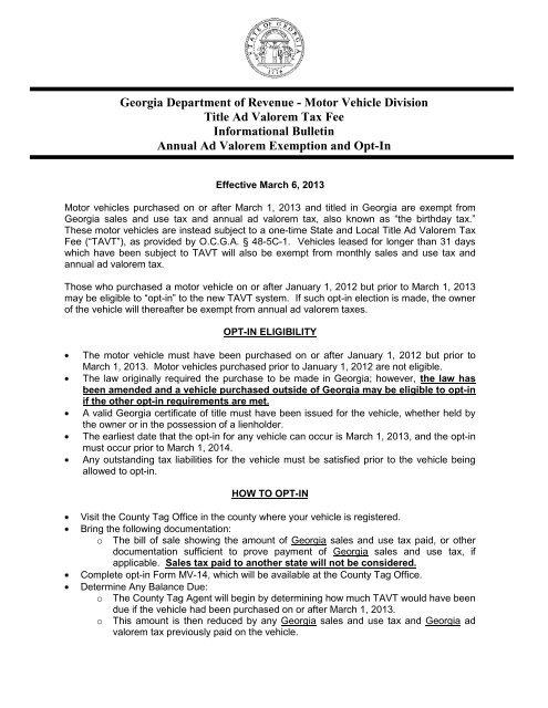 Georgia Ad Valorem Tax Calculator >> Georgia Department Of Revenue Motor Vehicle Division Title Ad