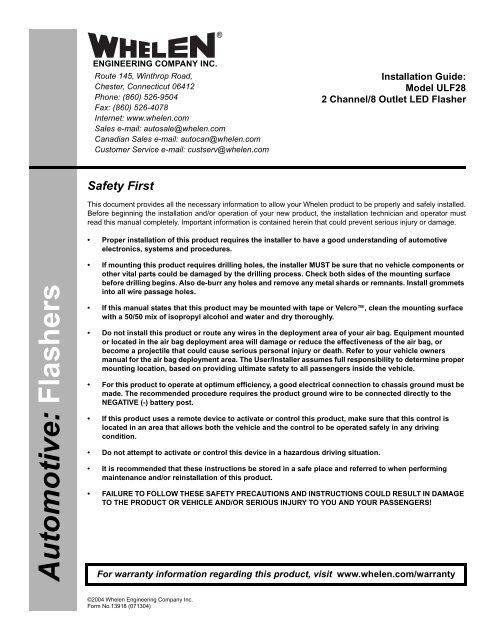 13918: ULF28 2 Ch./8 Outlet LED Flasher - Whelen EngineeringYumpu