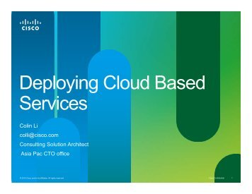 Deploying Cloud Based Deploying Cloud Based Services - Cisco ...