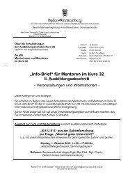 """""""Info-Brief"""" für Mentoren im Kurs 32 - Staatliches Seminar Albstadt"""