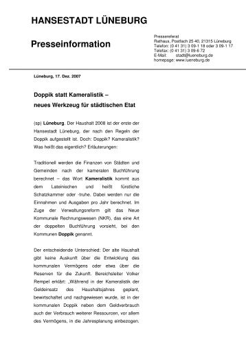 Vergleich Doppik - Kameralistik - Amt-Neuhaus