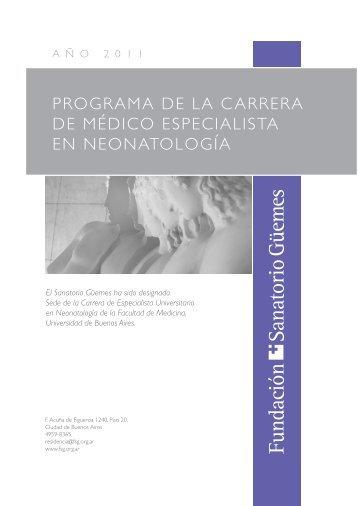 PROGRAMA DE LA CARRERA DE MéDiCO EsPECiAListA En ...