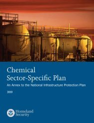 Chemical Sector-Specific Plan 2010 - Homeland Security