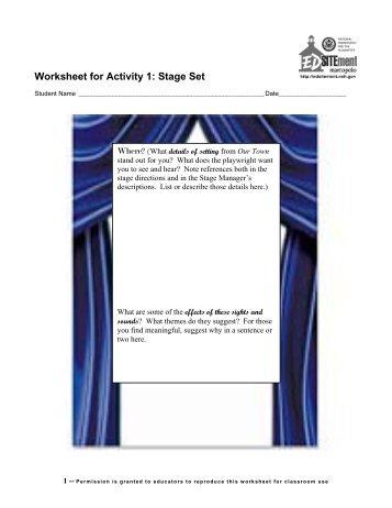 Activity 1 worksheets - EDSITEment