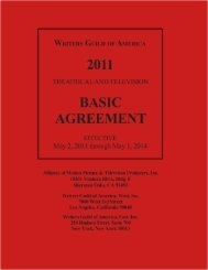 2011 Minimum Basic Agreement - Writers Guild of America, West