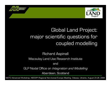 major scientific questions for coupled modelling - NEESPI