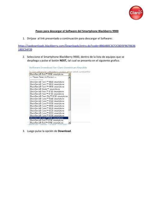Pasos para descargar el Software del Smartphone Blackberry 9900