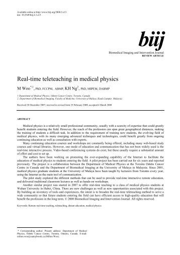 Medical physics research articles