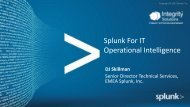 Splunk For IT Operational Intelligence - Integrity Solutions