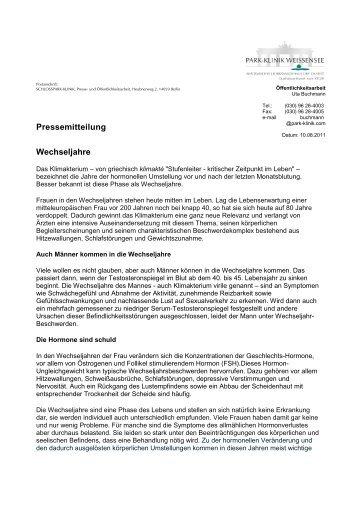 Pressemitteilung Wechseljahre - Park Klinik Weißensee