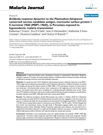 Antibody response dynamics to the Plasmodium falciparum ...