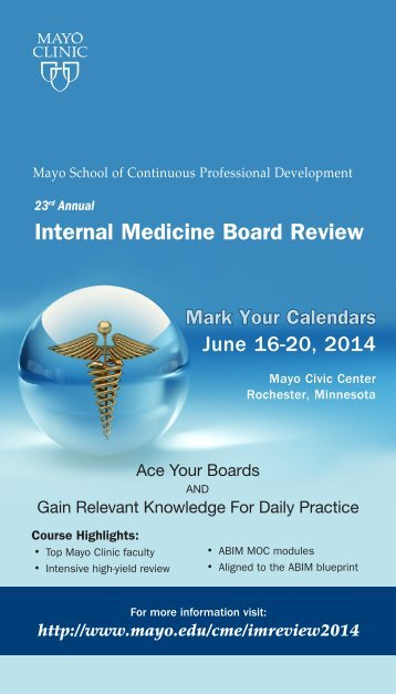 CME Post Cards Internal Medicine Review Canadian ... - Mayo Clinic
