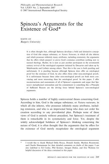 Spinoza's Arguments for the Existence of God*