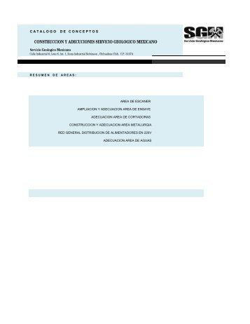 CATALOGO DE CONCEPTOS. - Servicio Geológico Mexicano