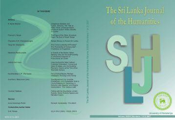 The Sri Lanka Journal of the Humanities - University of Peradeniya