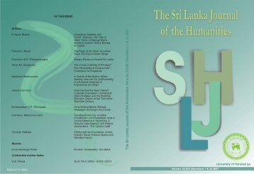 The Sri Lanka Journal of the Humanities - University of Peradeniya