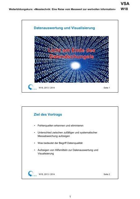 Datenauswertung und Visualisierung Ziel des Vortrags - VSA