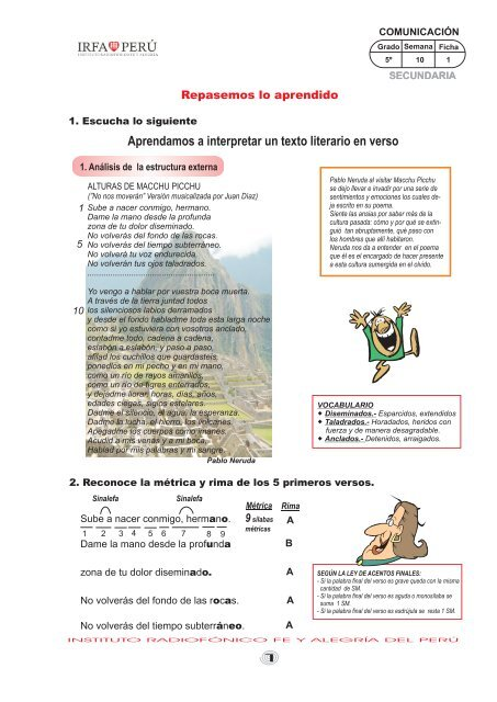 Aprendamos A Interpretar Un Texto Literario En Verso Irfa