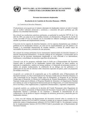 Resolución 1998/50. Personas internamente desplazadas ... - Acnur
