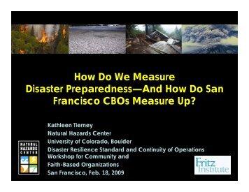 How Do We Measure Disaster Preparedness—And ... - Fritz Institute