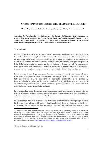 Informe Temático de la Defensoría del Pueblo del Ecuador ... - Acnur