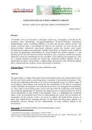 Conflitos sociais e meio ambiente urbano - Instituto de Psicologia da ...