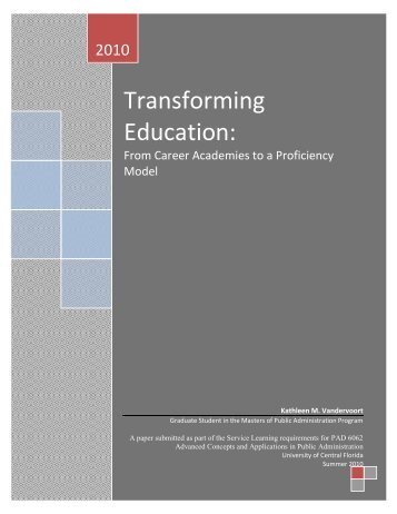 Transforming Education: - College of Health and Public Affairs ...