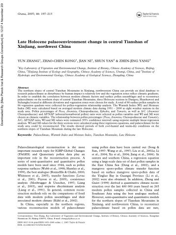 Late Holocene palaeoenvironment change in central Tianshan of ...