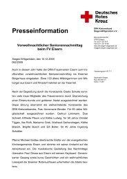 Presseinformation Vorweihnachtlicher Seniorennachmittag beim FV ...
