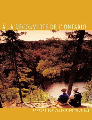 à LA DécOUVERTE DE L' ONTARIO - Ministry of Tourism